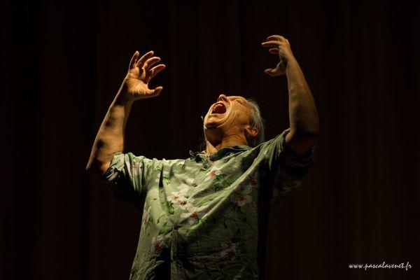 Franck Lepage en pleine conférence gesticulée sur l'inculture en 2017