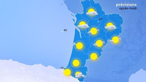 Ciel clément aujourd'hui sur la Nouvelle-Aquitaine