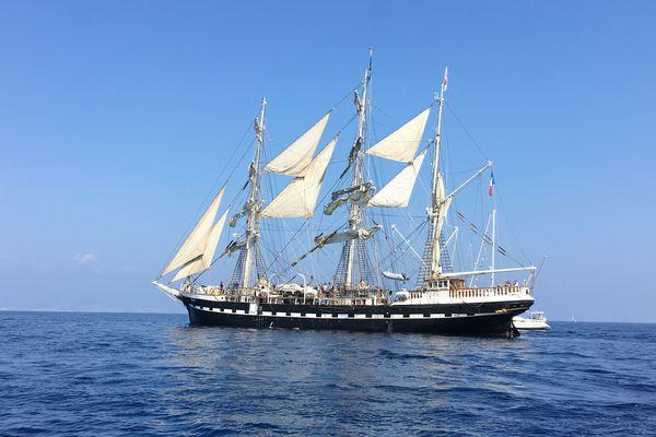 Le Belem à son arrivée à Antibes en septembre 2018.