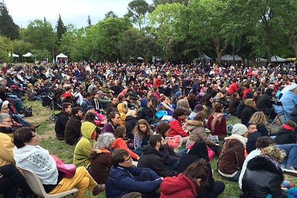 Plus de 2000 participants ont bravé le temps maussade pour écouter Pierre Rabhi à Saint-Jean-de-Vedas.