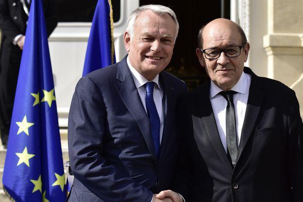 Jean-Marc Ayrault, aux côtés de JY Le Drian le 17 mai 2017