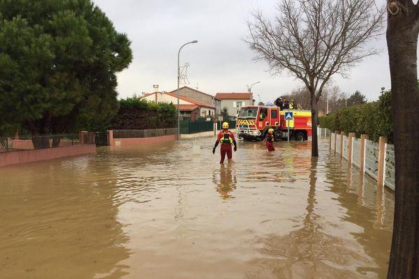 Ce jeudi matin, dans le quartier Mas Bordas à Claira inondé par l'Agly - 23 janvier 2020