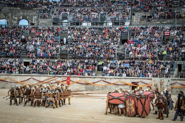Les grands jeux romains en mai 2019 dans les arènes de Nîmes, dans le Gard.