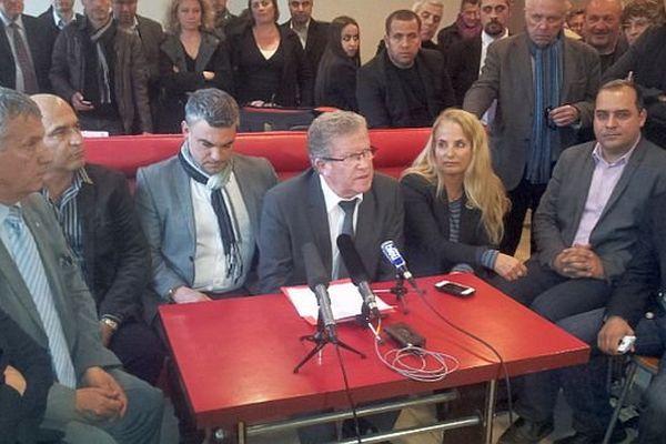 Montpellier - Jean-Pierre Moure, candidat PS, lors d'une conférence de presse - 25 mars 2014.