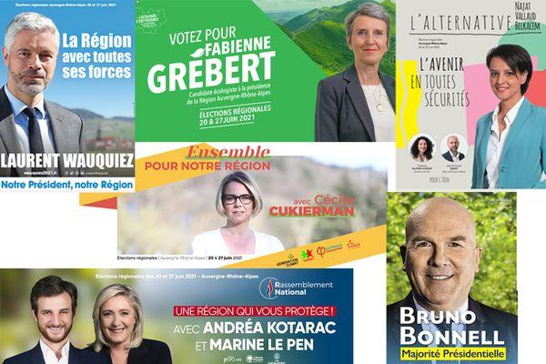 Laurent Wauquiez (LR), Fabienne Grébert (EELV), Najat Vallaud-Belckacem (PS), Andréa Kotarac (RN) et Bruno Bonnell (LREM) sont tête de listes aux élections régionales en Auvergne-Rhône-Alpes