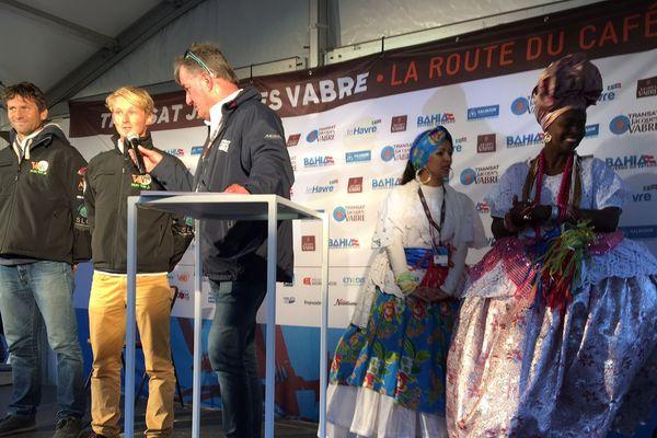 La présentation des skippers au Village de la Transat Jacques Vabre ce samedi 28 octobre 2017.