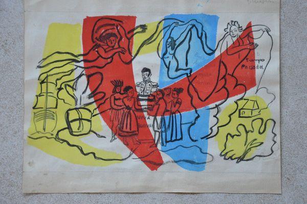 """Encre et gouache de Fernand Léger pour l'opéra """"Bolivar"""""""