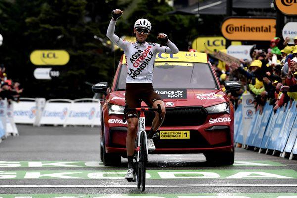 Ben O'Connor à son arrivée à Tignes le dimanche 4 juillet, à l'issue de la 9e étape du Tour de France 2021.