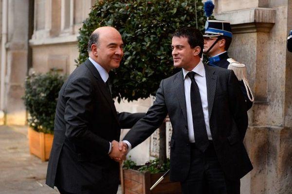 Pierre Moscovici et Manuel Valls le 1er mars 2014 à Matignon