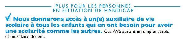 La promesse d'Emmanuel Macron sur la scolarisation des enfants handicapés, telle qu'elle est mentionnée sur son programme.