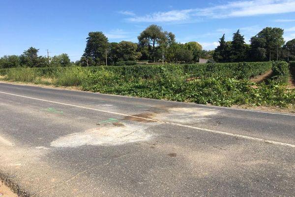 Lansargues (Hérault) - le lieu de l'accident route de Lunel en direction de Saint-Just - 9 août 2021.