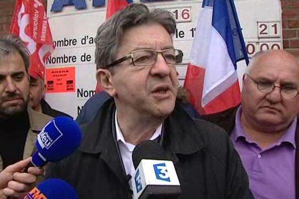 Jean-Luc Mélenchon (Parti de Gauche) en déplacement à Berlaimont