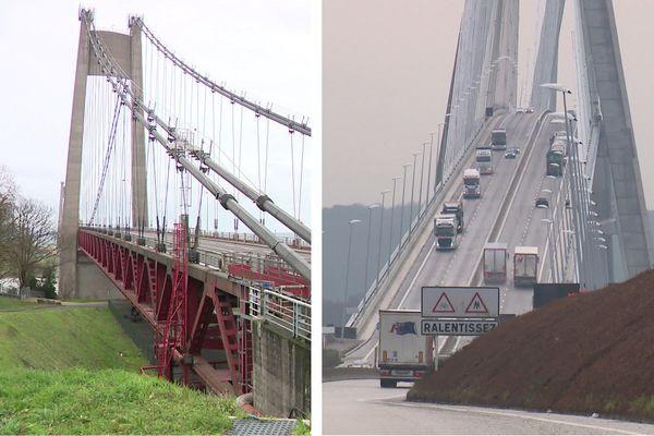 Le pont de Tancarville et le pont de Normandie - Archives