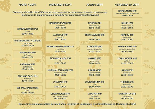 La programmation des quatre jours du Crossroads Festival, à Roubaix.