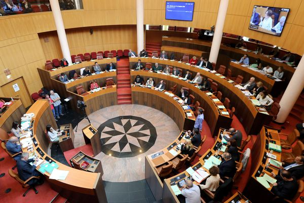 L'hémicycle de l'assemblée de Corse, à Ajaccio