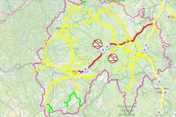 En rouge : circulation difficile  En jaune : circulation délicate En vert : circulation habituelle