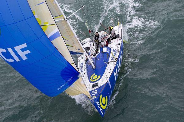 Le bateau Skipper Macf du duo Richomme Le Pape  dans la transat AG2R La mondiale