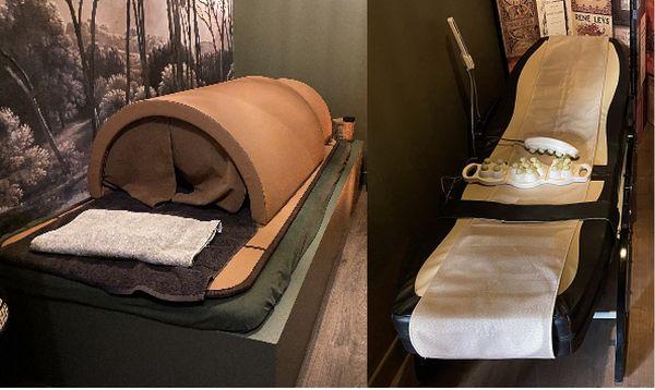 Parmi les prestations proposées : le sauna-dôme et le lit shiatsu massant