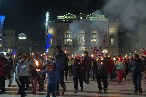 Montpellier - retraite aux flambeaux contre la réforme des retraites - 30 janvier 2020.