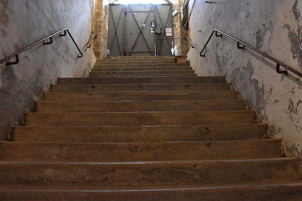 Les yeux et les mains liés, les détenus sont poussés dans les escaliers. En bas, des SS les attendent pour les frapper.