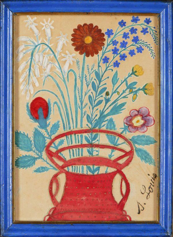Fleurs dans un panier de Séraphine Louis, vers 1910, crayon, gouache et peinture dorée sur papier vergé, n° Inv. A.00.5.689, musée d'Art et d'Archéologie, Senlis