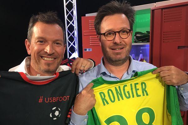 Raphaël Bonamy, journaliste au service des sports de Ouest-France Vendée, au côté d'Anthony Brulez pour l'émission #USBFOOT