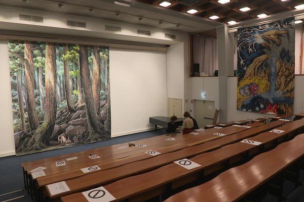 Sur le grand mur blanc, le carton de la future première tapisserie d'Aubusson d'après les dessins animé du maître japonais, Hayao Miyazaki, aux dimensions monumentales : 4,6m par 5m !