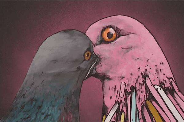 """""""Les pigeons"""" oeuvre de Gris 1 et Terez"""