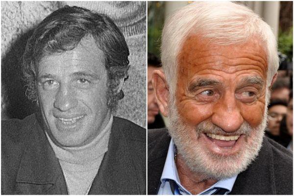 Jean-Paul Belmondo en 1971, dans un restaurant romain, et en 2013 (à Nice pour ses 80 ans).