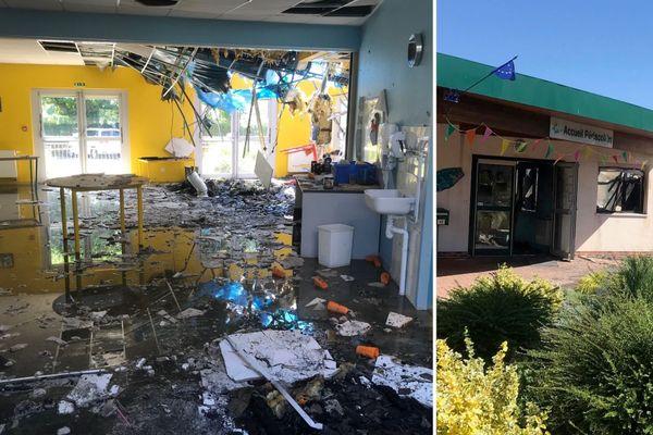 Images du Centre Périscolaire ravagé par les flammes de l'incendie.