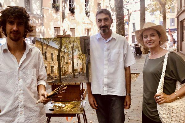 Sophie Jovillard à Céret, avec José Angulo, enfant du pays et Romer Kitching, artiste-peintre.