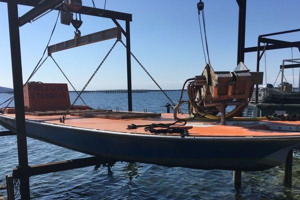"""Dans les mas des conchyliculteurs de l'Etang de Thau, les barges de travail sont elles aussi en quelque sorte """"confinées"""" suite à la crise de coronavirus."""