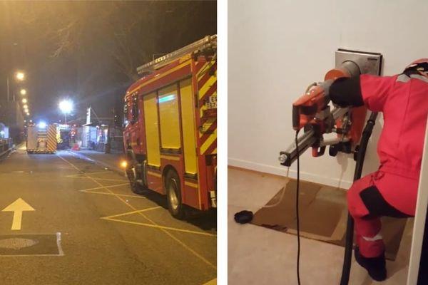 L'opération des pompiers, qui a duré longtemps, a nécessité le percement de murs dans l'immeuble.