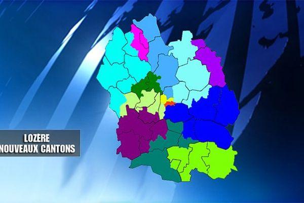 Carte des nouveaux cantons en Lozère, élections départementales 2015