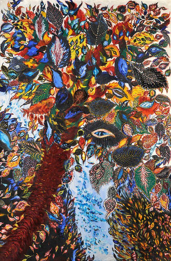L'arbre de paradis de Séraphine Louis, vers 1929, huile et ripolin sur toile, n° Inv. D.A.2006.0.2.1., dépôt du Musée national d'art moderne, Centre Pompidou au musée d'Art et d'Archéologie, Senlis