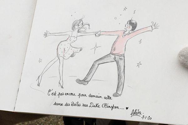 """""""C'est pas encore pour demain cette danse sur Duke Ellington"""", a écrit Lolita en hommage à Cabu."""