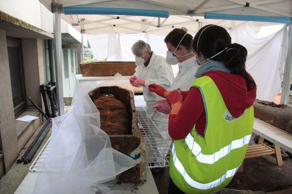 Les inondations de 2016 à Montargis ont provoqué de graves dégâts sur la momie du musée Girodet.