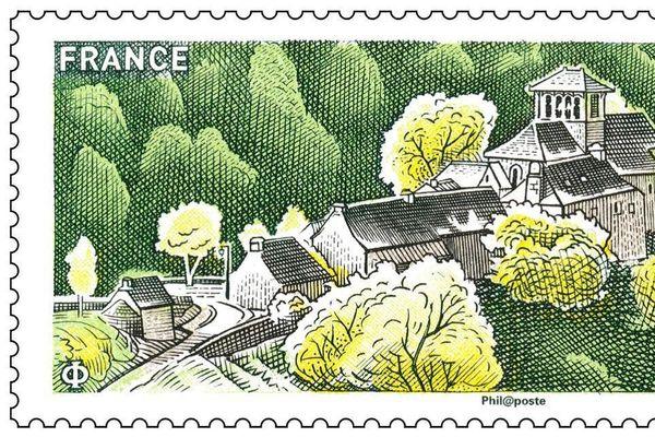 Le Hameau de Bes-Bédène, dans l'Aveyron, fidèlement représenté sur les nouveaux timbres de La Poste.