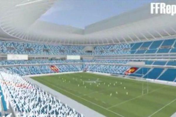 Capture d'écran d'une vidéo de présentation du futur grand stade de rugby.