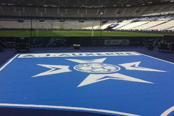 Le logo AJA au pour la finale de la coupe de France 2015 au stade de France