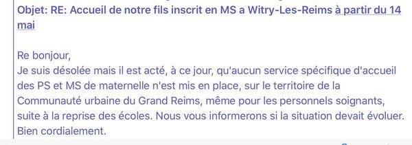 Réponse par mail de la communauté urbaine du Grand Reims à Béatrice Fourgeaud.