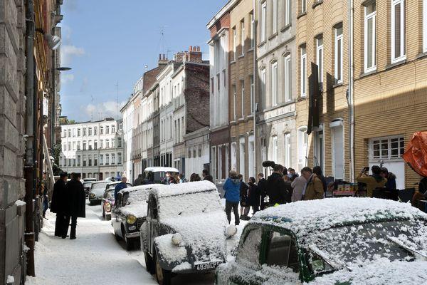 Tournage de la série Les Petits meurtres d'Agatha Christie lors d'un tournage à Lille en 2017.