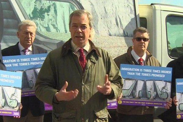 Nigel Farage, à Douvres ce mardi.