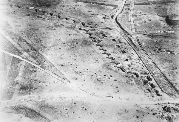 Photographie aérienne de la ligne Hindenburg à Bullecourt.