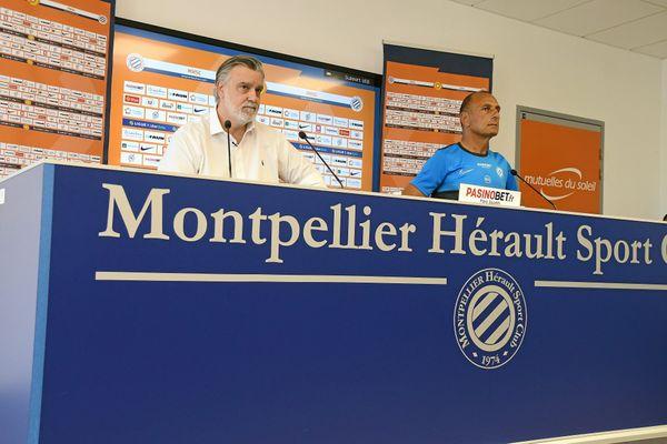 Laurent Nicollin et Michel Der Zakarian, le 22 juin 2020 lors d'une conférence de presse à Montpellier, dans l'Hérault.
