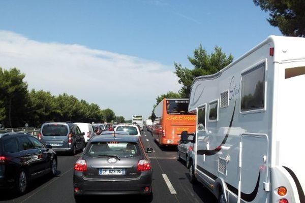 Samedi 3 août 2013 sur l'autoroute A9, jour de grand chassé-croisé entre vacanciers