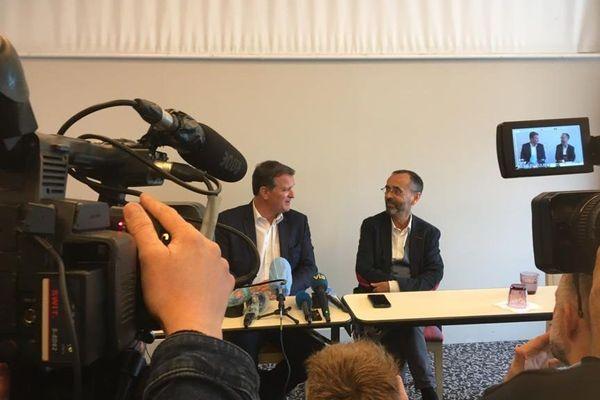 Louis Aliot et Robert Ménard lors de la conférence de presse à Perpignan - 11.06.20