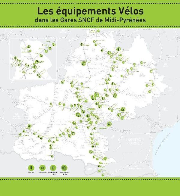 Carte des points équipements vélos en Midi-Pyrénées