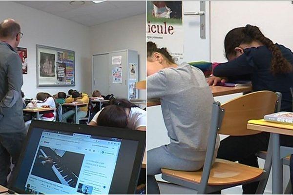 Chaque matin, Laurent Bastien enseignant à St-Dizier propose à ses élèves 5 minutes de relaxation avant de démarrer son cours.