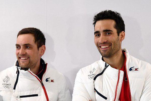 Martin Fourcade (à droite) sera porte drapeau de la délégation Française aux JO d'hiver le 9 février 2018 à Pyeongchang